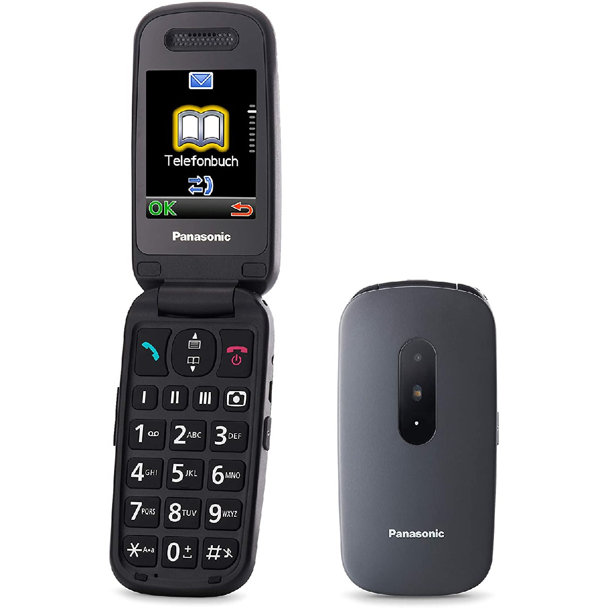"""Panasonic KX-TU446EXG  2.4"""" Γκρι με MicroSD, Bluetooth, Κάμερα, Μεγάλα Γράμματα και Πλήκτρο SOS"""