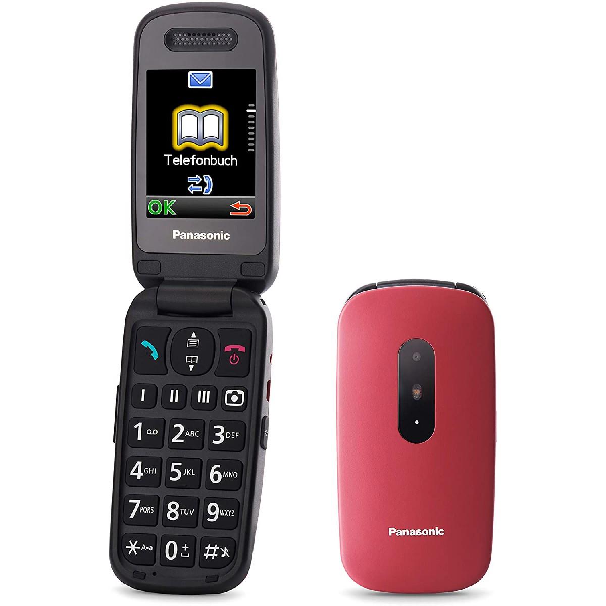 """Panasonic KX-TU446EXR  2.4"""" Κόκκινο με MicroSD, Bluetooth, Κάμερα, Μεγάλα Γράμματα και Πλήκτρο SOS"""