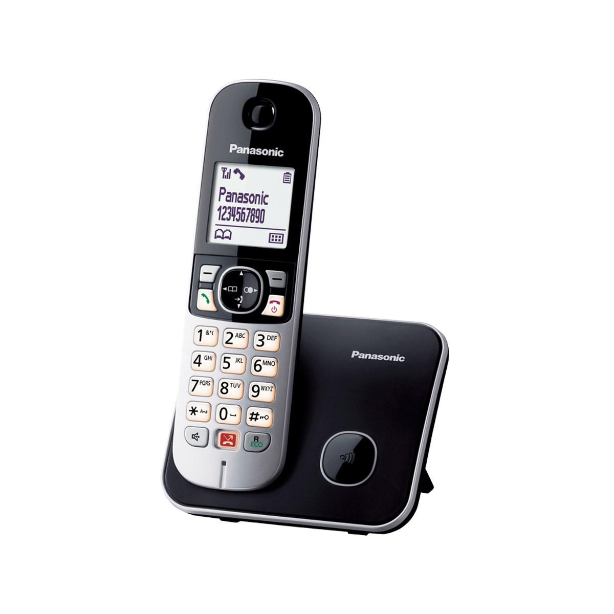 Ασύρματο Ψηφιακό Τηλέφωνο Panasonic KX-TG6851GRB  με Μεγάλη Οθόνη και Ανοιχτή Ακρόαση Μαύρο