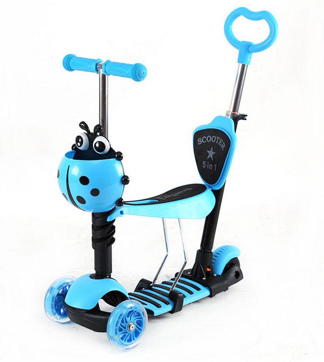 Πρωτοποριακό Παιδικό Πατίνι 4 σε 1 & Περπατούρα με 3 Τροχούς LED Glider Scooter ΙΙ Μπλε