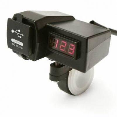 Διπλός USB Φορτιστής & Βολτόμετρο για Μηχανές OEM I-09