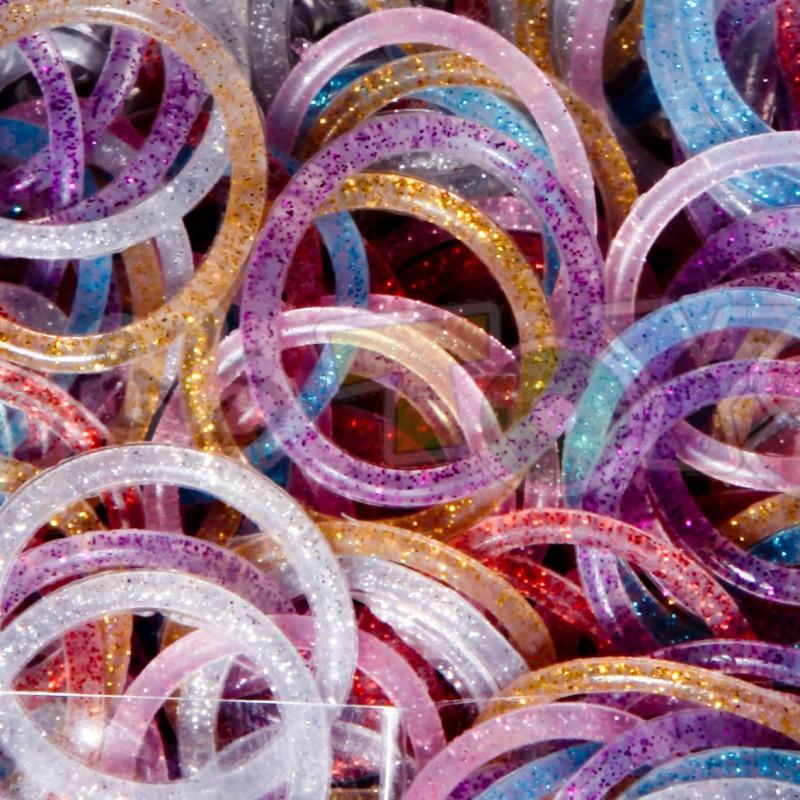 Rainbow Loom - Glitter Χρωματιστά Λαστιχάκια για τον Αργαλειό Rainbow Loom
