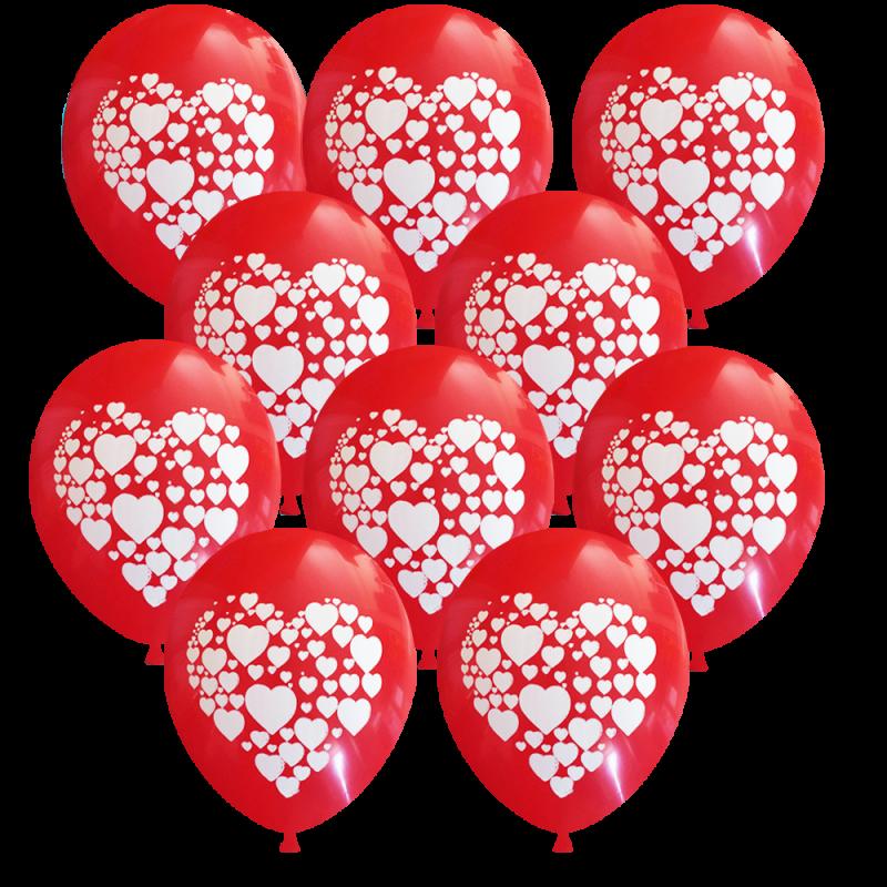 Μπαλόνι 12 ιντσών τυπωμένο με καρδούλες σε 1 πλευρά 15 τεμάχια συσκευασμένα ND