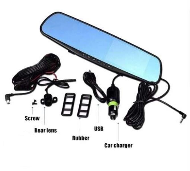 Κάμερα καθρέπτης αυτοκινήτου 3.2'' FHD DVR καταγραφικό πορείας + ευρυγώνια κάμερα οπισθοπορείας 120°