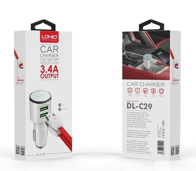 Φορτιστής αυτοκινήτου με 2 θύρες USB & καλώδιο DL-C29 LDNIO