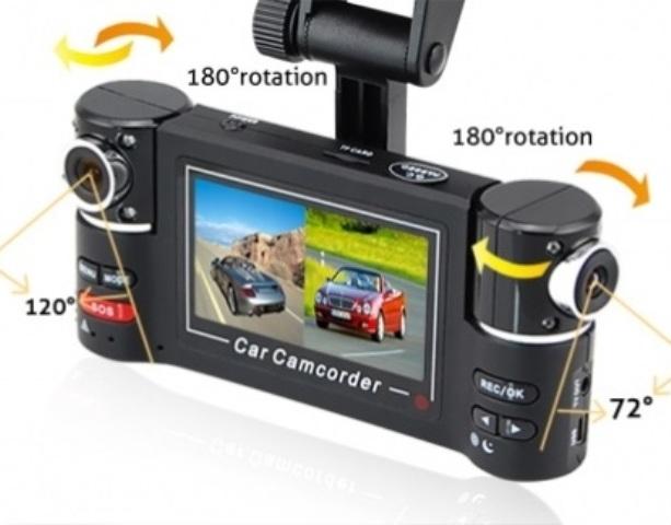 Διπλή κάμερα αυτοκινήτου περιστρεφόμενων φακών 180°, LCD 2,7' - 5MP CARWAY F30