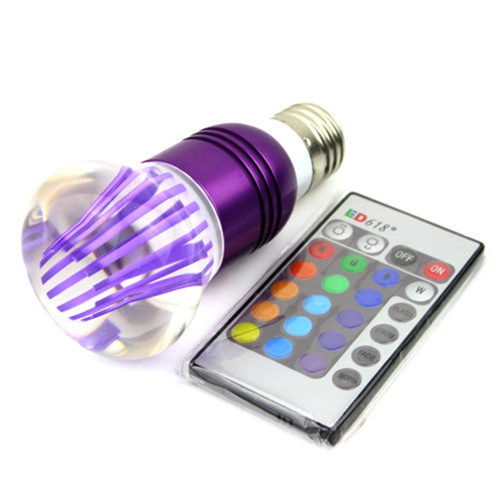 Λάμπα RGB Led E27 3Watt Διάχυτου Φωτισμού με Τηλεχειριστήριο και Εναλλαγή 16 Χρωμάτων