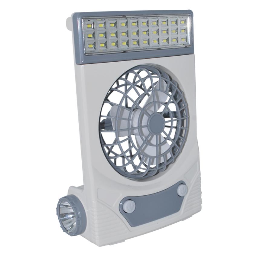 Ηλιακός Φορητός Επαναφορτιζόμενος Ανεμιστήρας με Φακό & Φωτιστικό LED