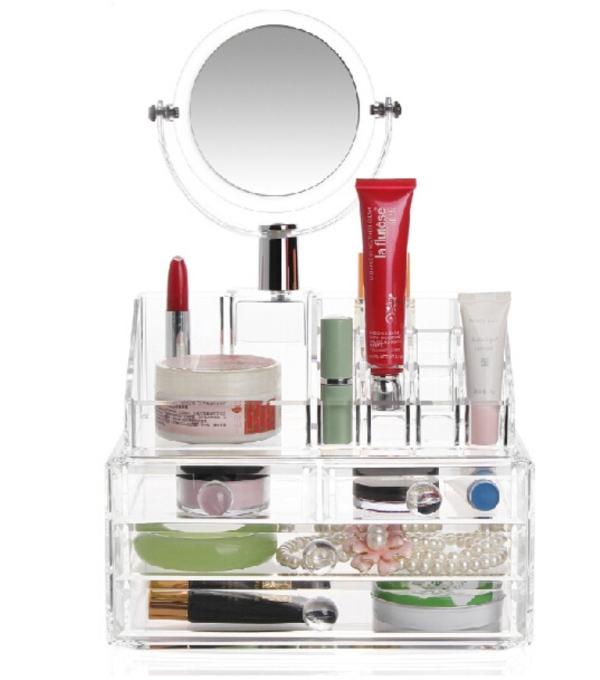 Οργανωτής καλλυντικών με καθρέφτη