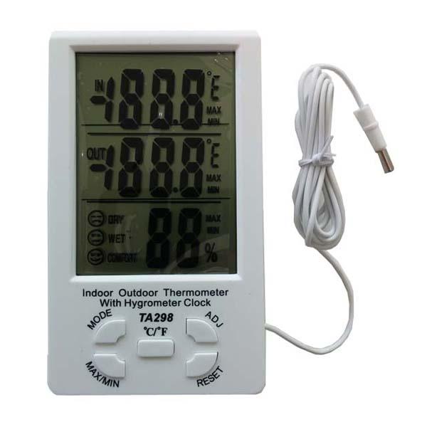 Ψηφιακό Θερμόμετρο & Υγρόμετρο με Διπλό Αισθητήρα, Ημερολόγιο & ALARM HTC-TA298