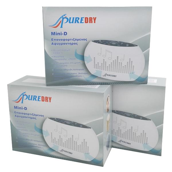 Αφυγραντήρας Ντουλάπας Επαναφορτιζόμενος Σετ 3 τεμάχια Puredry Mini-D (χωρίς μπαταρίες) (Πληρωμή έως 12 δόσεις)