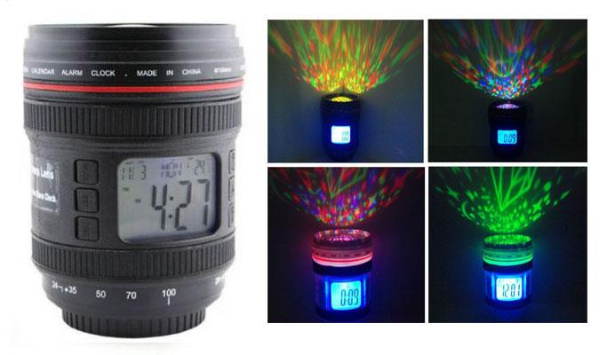 Ψηφιακό ρολόι με φωτιστικό δωματίου σε στυλ φακού κάμερας Μαύρο