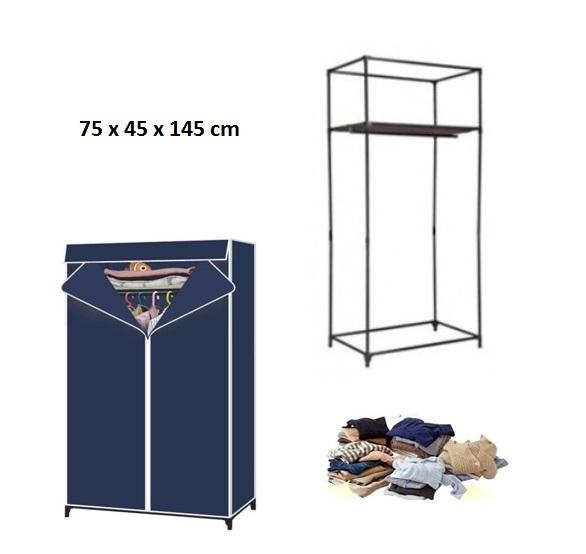 Διπλή φορητή υφασμάτινη ντουλάπα με μεταλλικό σκελετό και ράφι αποθήκευσης 145 x 75 x 45 cm