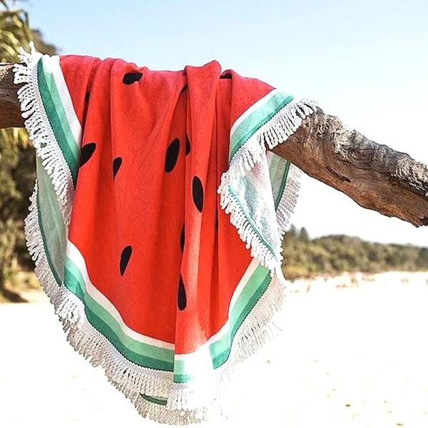 Πετσέτα θαλάσσης στρογγυλή με κρόσσια - καρπούζι