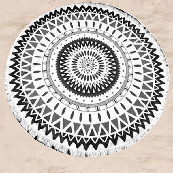 Πετσέτα θαλάσσης στρογγυλή με κρόσσια - γεωμετρικά σχήματα μαύρο/λευκό