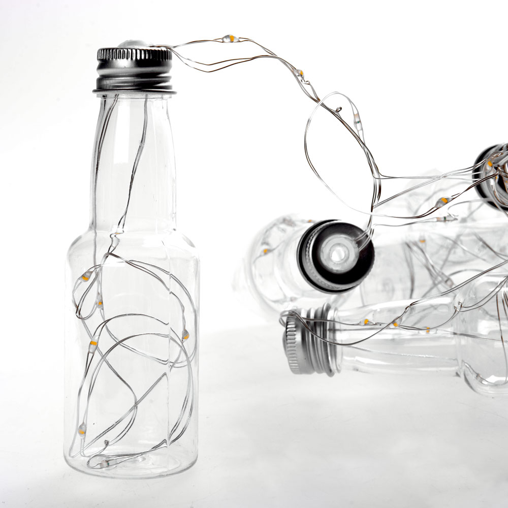 LED φωτάκια μπαταρίας σε γιρλάντα με 10 μπουκαλάκια ευχών και καλώδιο χαλκού 3m
