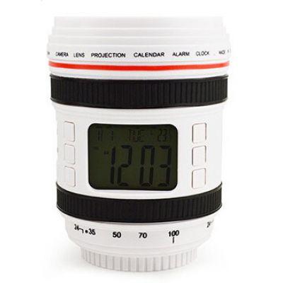Ψηφιακό ρολόι με φωτιστικό δωματίου σε στυλ φακού κάμερας Λευκό