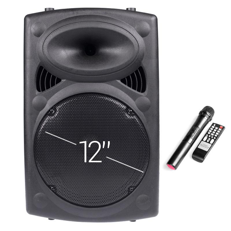 """Αυτο-Ενισχυόμενο Ηχείο 12"""" Με FM, Bluetooth, Είσοδο SD/USB/AUX, Ασύρματο Μικρόφωνο Και Είσοδο Κιθάρας - W-12"""