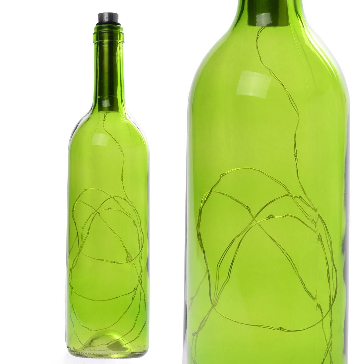 Διακοσμητικό φωτιστικό σε μπουκάλι κρασιού με LED φωτισμό - Πράσινο