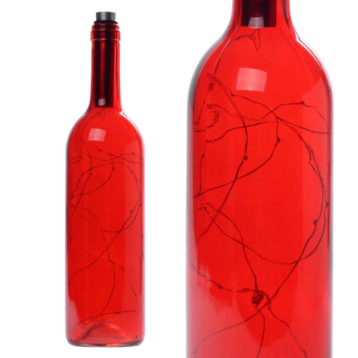 Διακοσμητικό φωτιστικό σε μπουκάλι κρασιού με LED φωτισμό - Κόκκινο