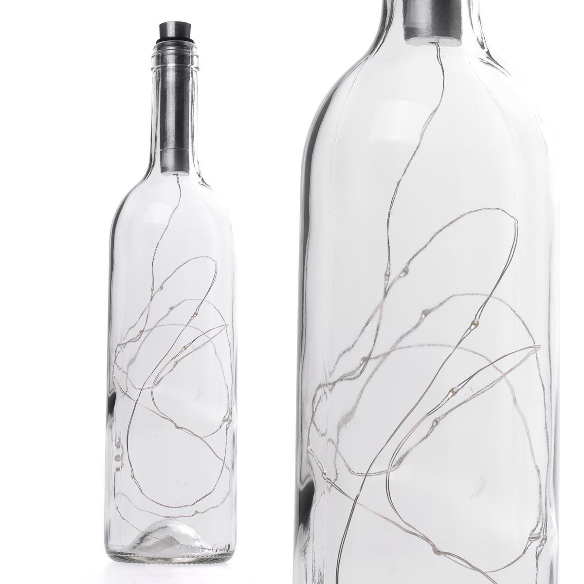 Διακοσμητικό φωτιστικό σε μπουκάλι κρασιού με LED φωτισμό - Διάφανο