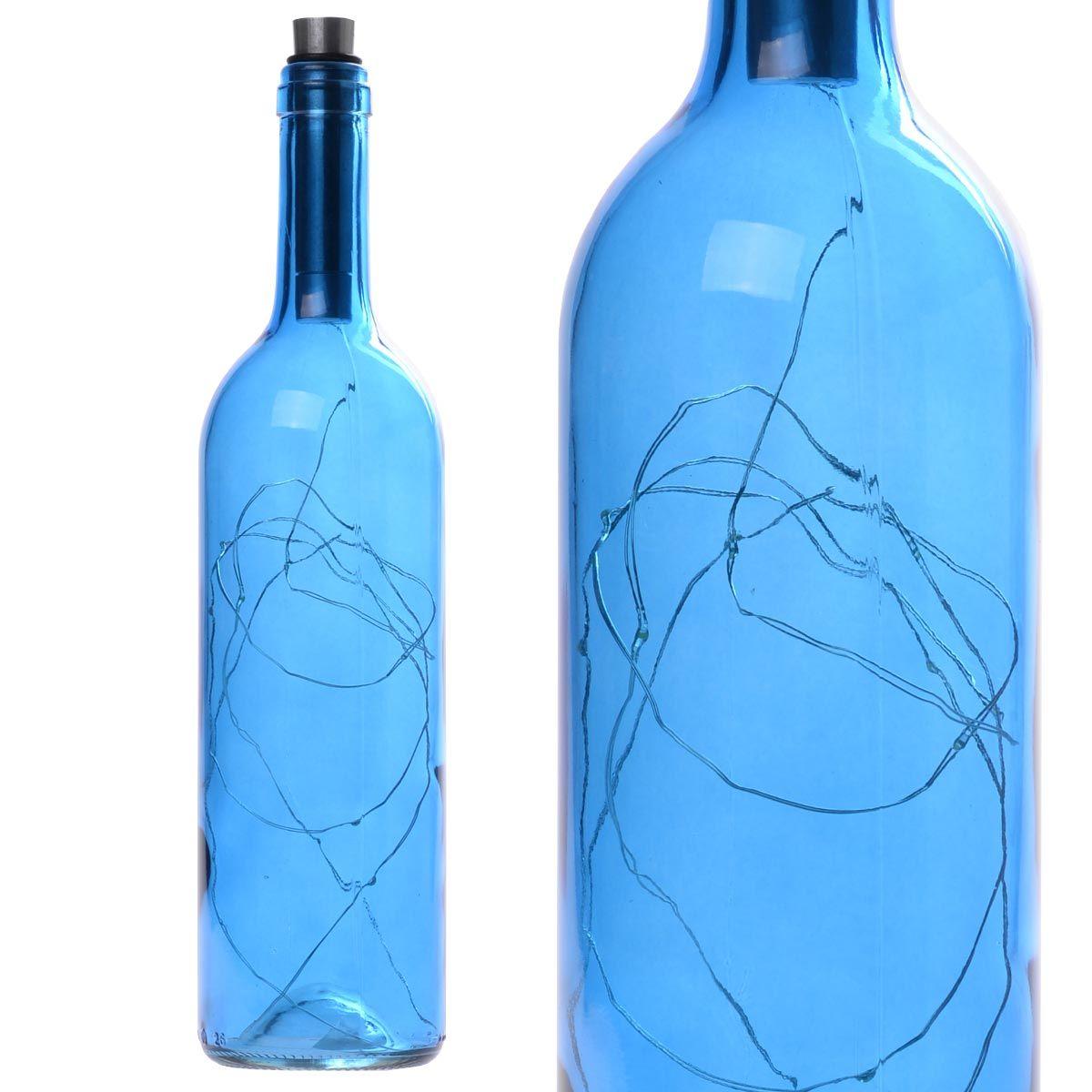 Διακοσμητικό φωτιστικό σε μπουκάλι κρασιού με LED φωτισμό - Γαλάζιο