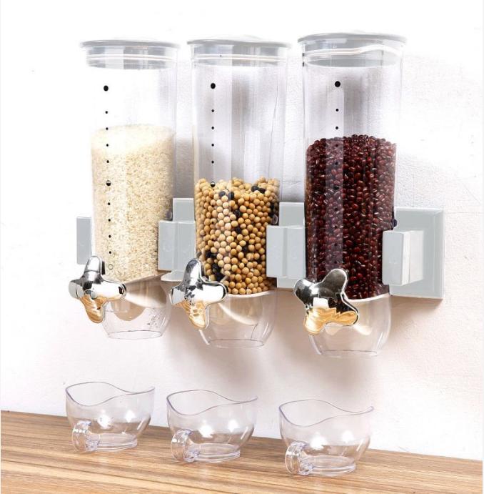 Τριπλό Δοχείο Αποθήκευσης Δημητριακών Που Στερεώνεται Στον Τοίχο