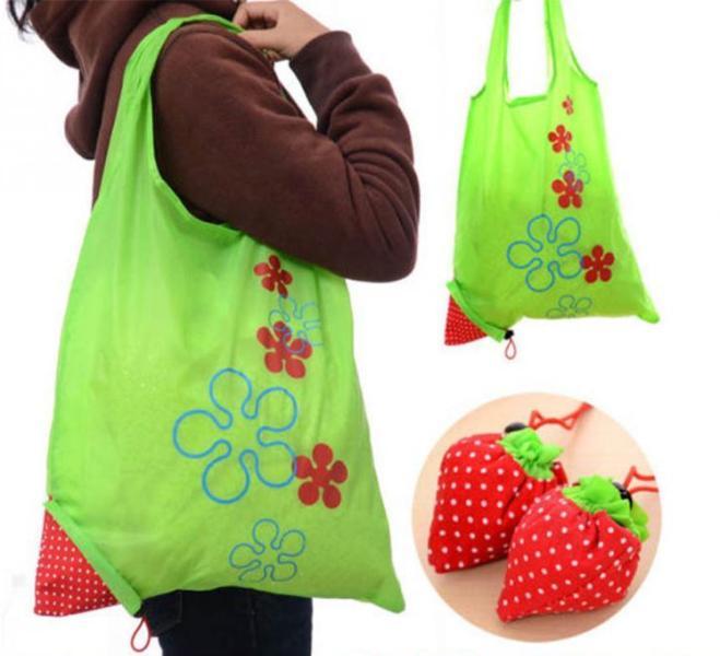 """Επαναχρησιμοποιούμενες οικολογικές τσάντες για ψώνια - πουγκί """"φράουλα"""""""