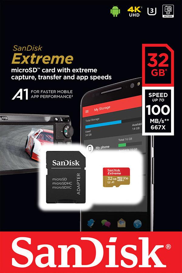 SanDisk Extreme microSDXC 128GB SDSQXAF-128G U3 V30 A1 με SD Adapter