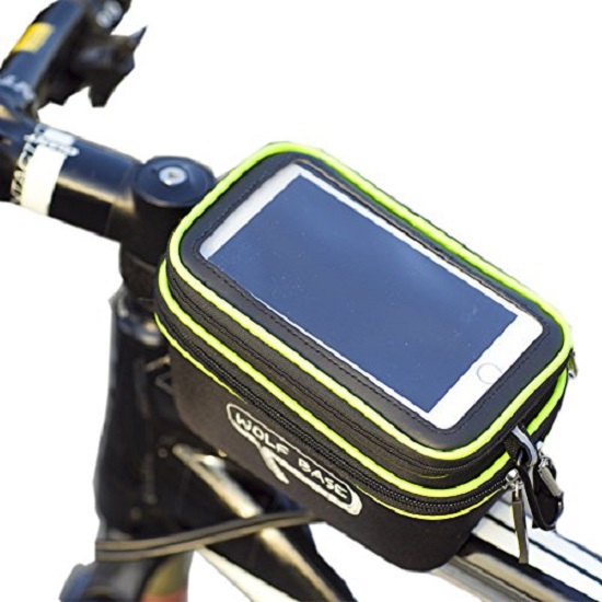 """Τσαντάκι ποδηλάτου αδιάβροχο με αποσπώμενη θήκη διάφανης μεμβράνης touch screen sensitive για τηλέφωνα έως 5.5"""""""
