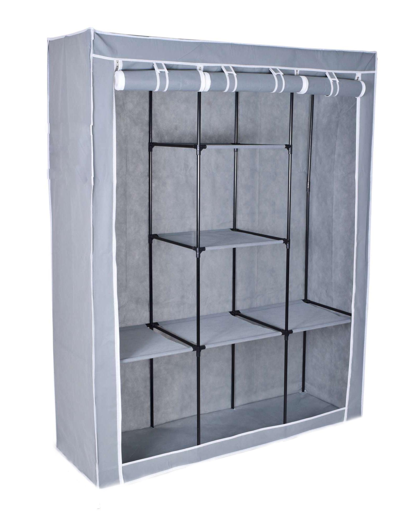 Τριπλή υφασμάτινη ντουλάπα με 3 πόρτες και μεταλλικό σκελετό Γκρι