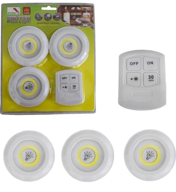 Αυτοκόλλητα σποτάκια LED με τηλεχειριστήριο 3 τεμάχια