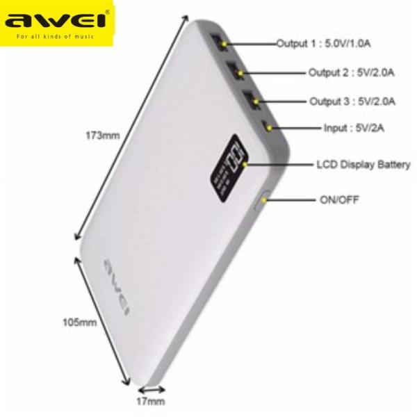 Power bank AWEI 30000 mAh με 3 θύρες USB