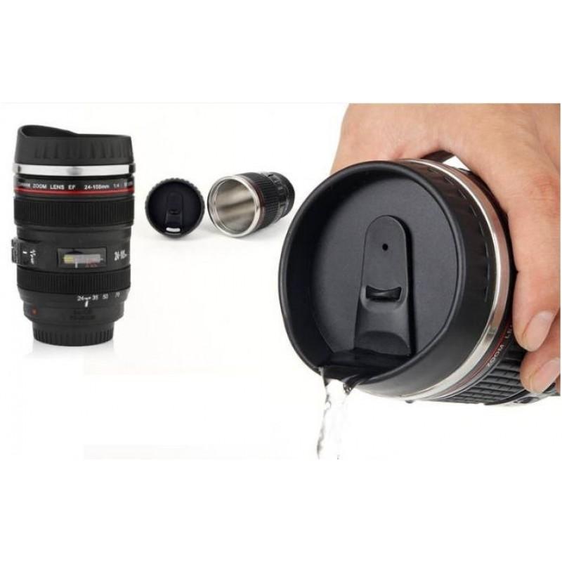 Κούπα ταξιδίου σε σχήμα φακού φωτογραφικής μηχανής με ανοξείδωτο εσωτερικό
