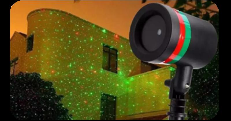 Διακοσμητικός αδιάβροχος χριστουγεννιάτικος νυχτερινός πράσινος & κόκκινος φωτισμός
