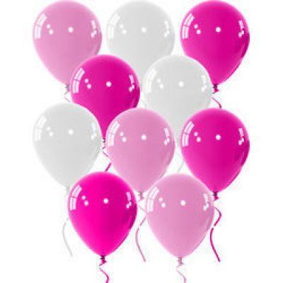 Μπαλόνια 9 ιντσών ματ ροζ-λευκά-φούξια 15 τεμάχια