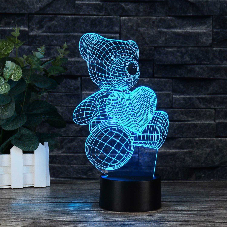 Usb Illusion LED Νυχτός Αφής Επιτραπέζιο 3D Teddy Heart  Φωτιστικό Με 7 Χρώματα