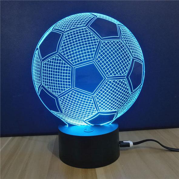 Usb Illusion LED Νυχτός Αφής Επιτραπέζιο 3D Μπάλα Ποδοσφαίρου Φωτιστικό Με 7 Χρώματα