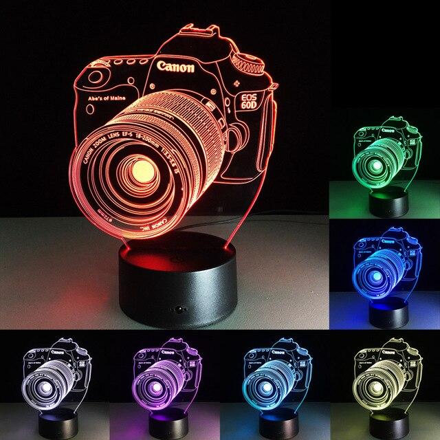 Usb Illusion LED Νυχτός Αφής Επιτραπέζιο 3D Camera Canon Φωτιστικό Με 7 Χρώματα