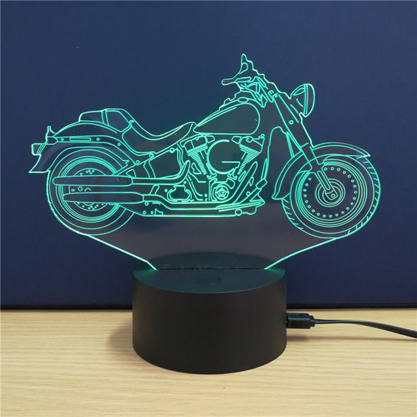 Usb Illusion LED Νυχτός Αφής Επιτραπέζιο 3D Harley Davidson Φωτιστικό Με 7 Χρώματα