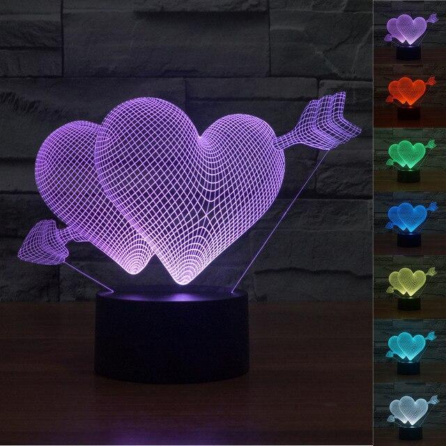Usb Illusion LED Νυχτός Αφής Επιτραπέζιο 3D Double Hearts Φωτιστικό Με 7 Χρώματα