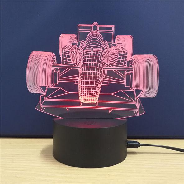 Usb Illusion LED Νυχτός Αφής Επιτραπέζιο 3D Formula 1 F1 Φωτιστικό Με 7 Χρώματα