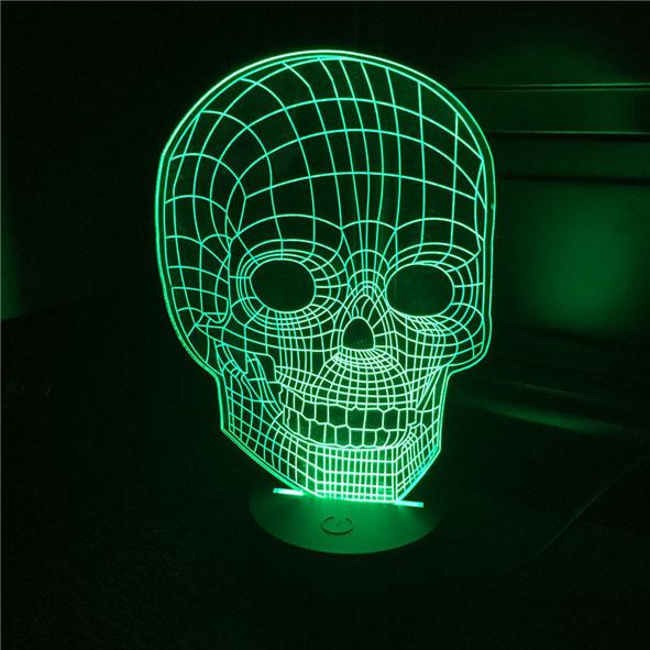 Usb Illusion LED Νυχτός Αφής Επιτραπέζιο 3D Νεκροκεφαλή Φωτιστικό Με 7 Χρώματα