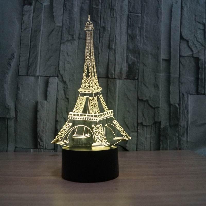 Usb Illusion LED Νυχτός Αφής Επιτραπέζιο 3D Πύργος Eiffel Paris Με 7 Χρώματα