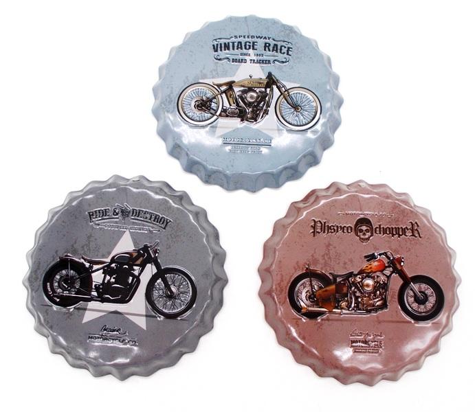 """Σετ 3 Τμχ Διακοσμητικά Μεταλλικά Καπάκια """"bikes"""""""