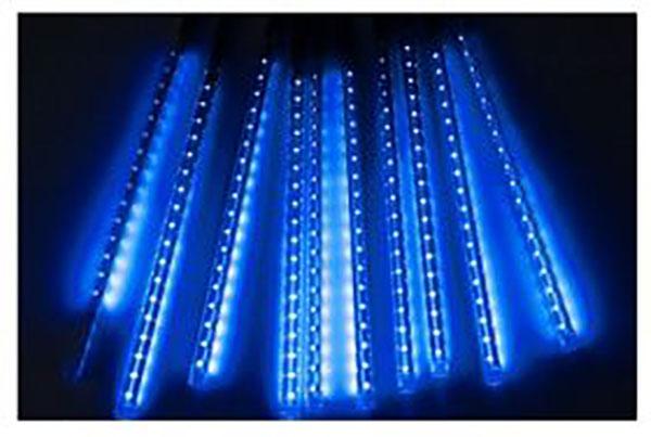 Χριστουγεννιάτικη Επεκτεινόμενη LED Βροχή Μετεωριτών Spiral 8 x 47cm Μπλε OEM 3227