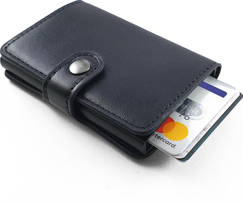 Πορτοφόλι Πιστωτικών Καρτών Δερματίνης Με Μεταλλική Θήκη - Μαύρο  RFID