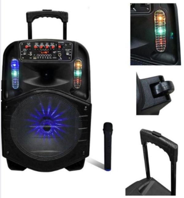 """Επαναφορτιζόμενο τροχήλατο ηχείο Karaoke 1800W με μικρόφωνο Bluetooth 12 """"CH-8612 AVCROWNS"""