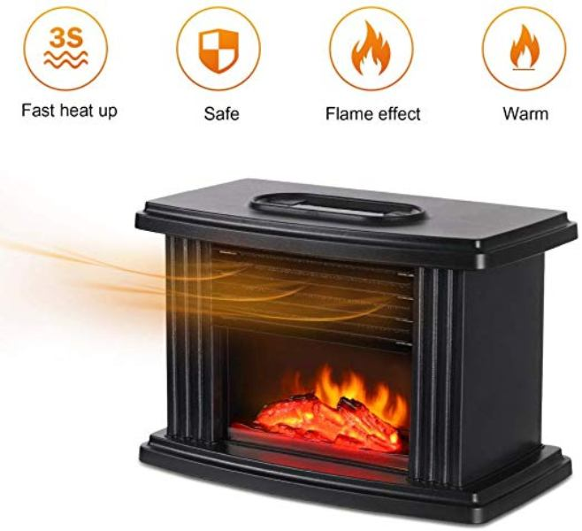 Μίνι θερμαντικό σώμα με εφέ φλόγας 1000W