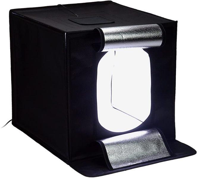 Φορητό αναδιπλούμενο φωτογραφικό στούντιο με φως LED και τριπλό φόντο 40x40x40cm